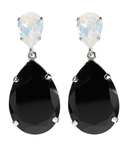 Perfect Drop Earrings / White Opal + Jet (Rhodium)