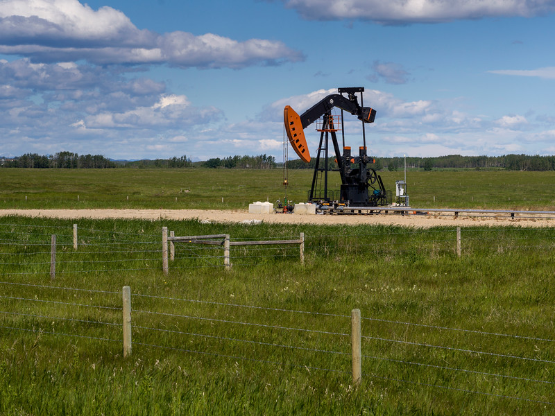 Oil Pump in field, Alberta Highway 22, Alberta, Canada