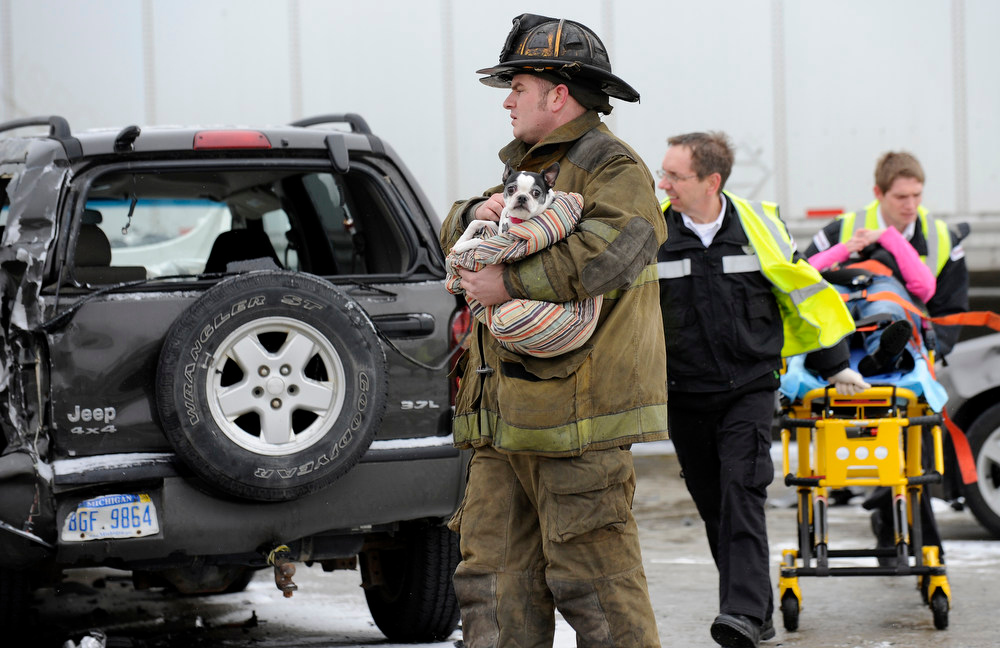 Description of . A firefighter holds a dog as emergency personnel responds to a multi-vehicle accident on Interstate 75  in Detroit, Thursday, Jan. 31, 2013. Snow squalls and slippery roads led to a series of accidents that left at least three people dead and 20 injured on a mile-long stretch of southbound I-75. More than two dozen vehicles, including tractor-trailers, were involved in the pileups. (AP Photo/The Detroit News, David Coates)