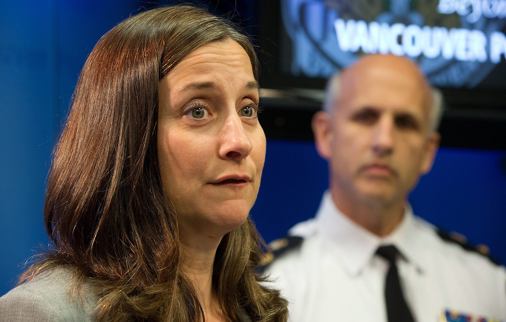 """. British Columbia Chief Coroner Lisa Lapointe speaks about the death of Canadian actor Corey Monteith as Vancouver Police Acting Chief Doug LePard, right, listens during a news conference in Vancouver, B.C., late Saturday July 13, 2013. Vancouver police say Canadian born actor Montieth, star of the hit show \""""Glee\"""" was found dead in city hotel.  (AP Photo/The Canadian Press, Darryl Dyck)"""