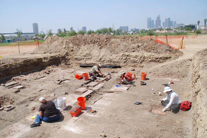 """June 25, 2009A team of California State Parks archeologists work at a dig at the Los Angeles State Historic Park. This is the site of the Southern Pacific Railroad's River Station  """"car shop"""" where new train cars were built from the ground up."""
