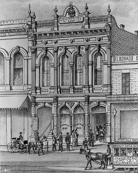 Line drawing depicting the Commercial Bank building on the east side of Main Street north of First Street, ca.1880