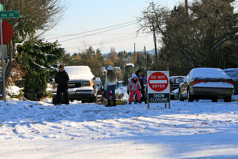 Roads closed but not for sledding.
