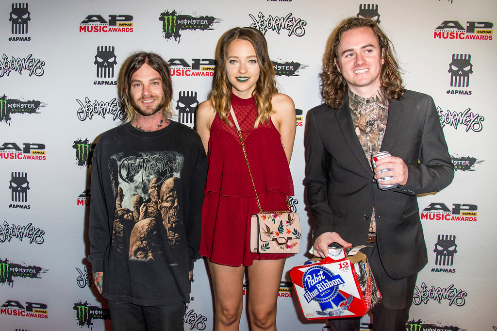 . Morgan Freed, from left, Babs Szabo and T.J. Petracca seen at 2017 Alternative Press Music Awards at the KeyBank State Theatre on Monday, July 17, 2017, in Cleveland. (Photo by Amy Harris/Invision/AP)