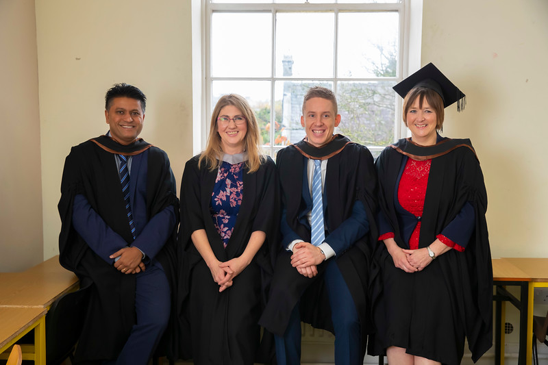 01/11/2019. Waterford Institute of Technology (WIT) Conferring Ceremonies. Pictured are Vinayak Gaikwad India and Waterford, Deirdre O'Halloran, Course leader, Ian McCormack Clonmel and Máire Banville Foulksmills. Picture: Patrick Browne