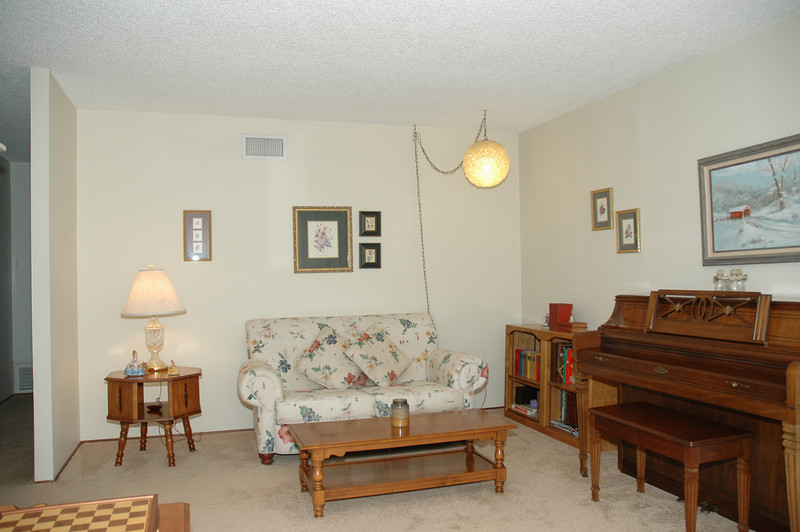 This view of the living room was taken from the front entry.