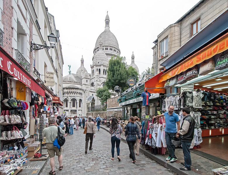 Shops of the Montmartre, Sacre-Coeur in the background