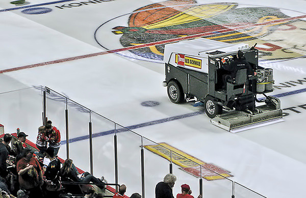 0516 surfaces  The Zamboni surfaces the ice for the Portland Winterhawks game #4 against Edmonton last Thursday.  The Winterhawks won't be needing new ice for a little while now, as they were eliminated from the playoffs in 7 games.