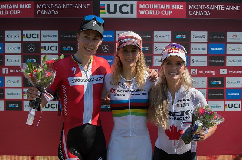 Annika Langvad (Den) Specialized Racing / Jolanda Neff (Sui) Kross Racing Team /  Emily Batty (Can) Trek Factory Racing XC