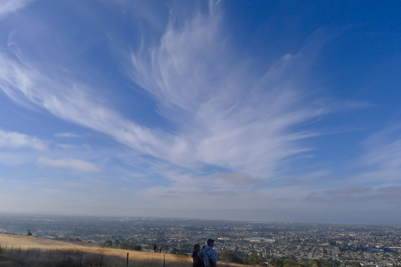 Sky and clouds over San Leandro and the bay.