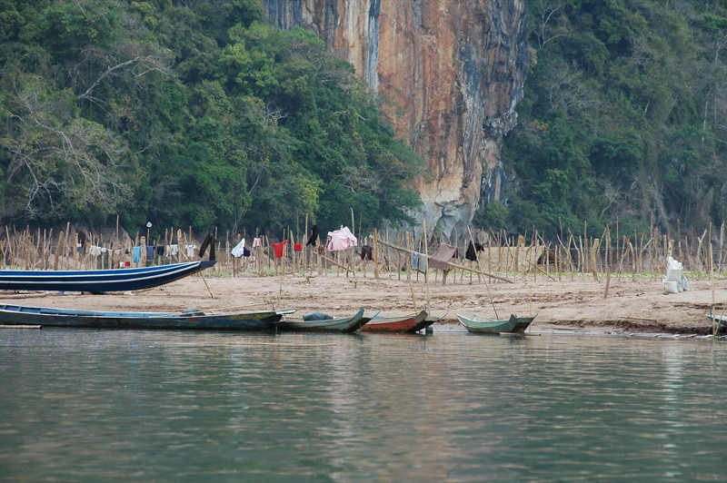 Boats on Stand-by - Nong Khiaw, Laos