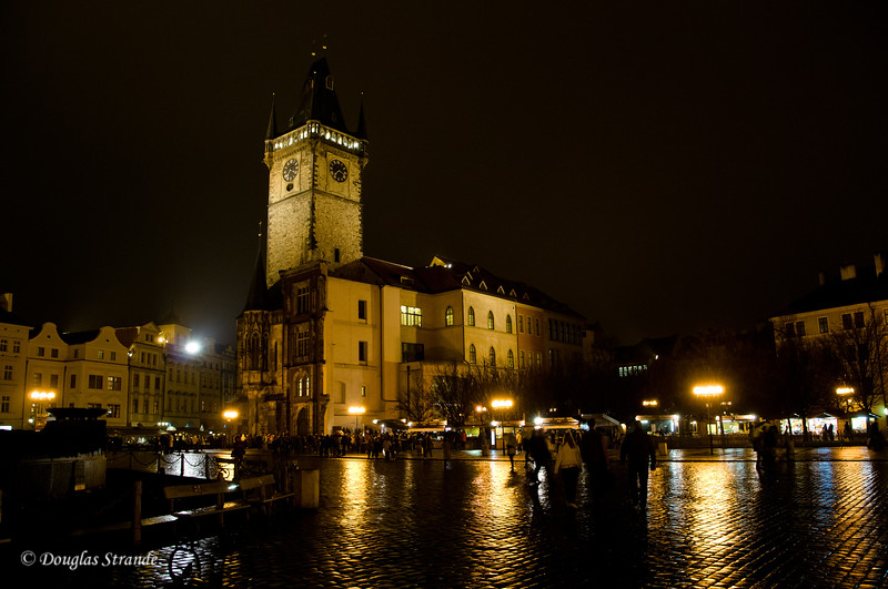Rear view of the Astrological Clock Tower at night