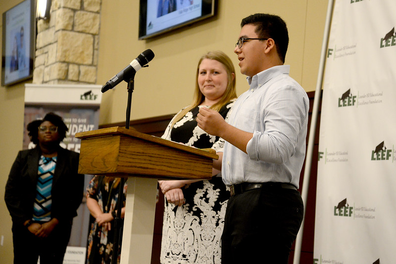 "Vista Ridge High School senior Mauricio Orozco Munoz, recognizing Emily Faulkner: ""There are many great VRHS teachers on campus, but Ms. Faulkner stands out by a mile for many reasons. Ever since Freshman year, she has been there to help me and my AVID class in developing responsibility, organization, social skills and many more. The reason why I am the person that I am today is because of her. She has made us get out of our comfort zone and to have good study habits and collaborative abilities through tutorials. We have created an AVID family, becoming better people than who we were before. Not only did she help push us, but also is one of the hardest working people I have ever met. Her work ethic is amazing, and she truly cares for everyone's success. I had Ms. Faulkner for the two years of high school, but after those years, she has still remained just as helpful, if not more, especially for the college application process and scholarships. There really is not anything that can match my gratitude and appreciation for her."""