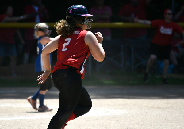 6/16/2018 Mike Orazzi | Staff Freedom's Tanher Thurston (2) during the city softball series Saturday in Bristol.