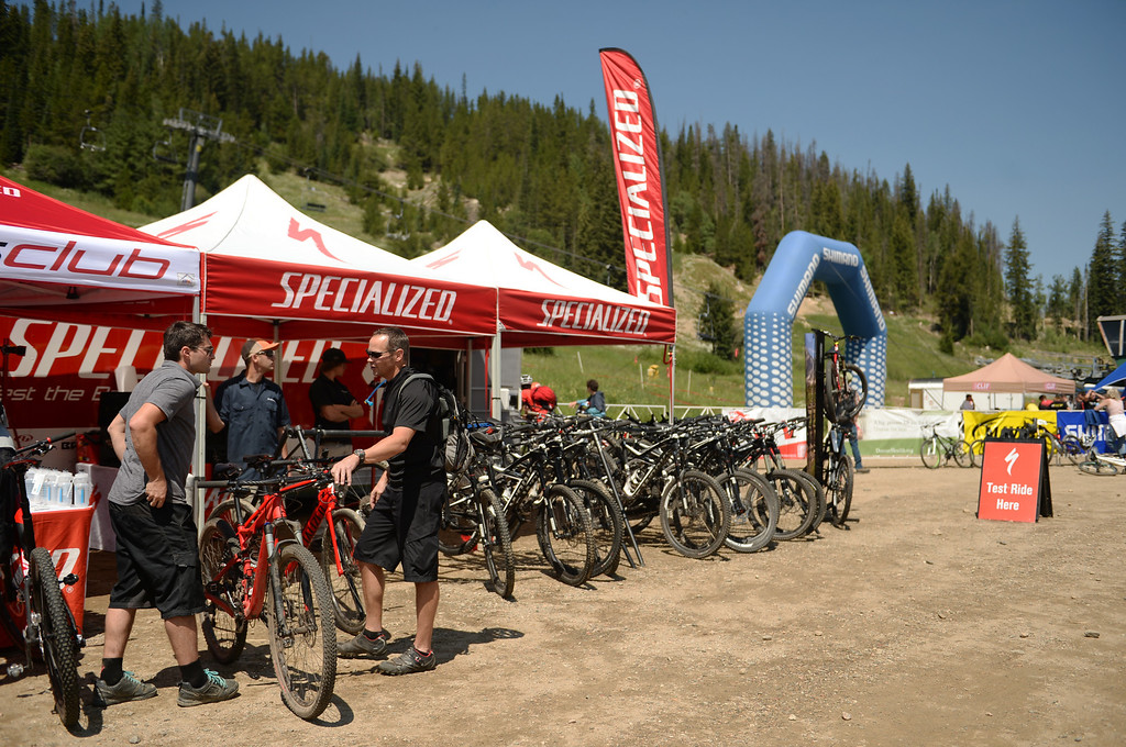 . WINTER PARK, CO. - July 26: People test ride the mountain bikes at Winter Park. First international Enduro World Cup Championship ever in U.S. at Winter Park, Colorado. July 26, 2013. (Photo By Hyoung Chang/The Denver Post)