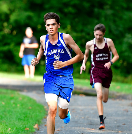 9/19/2018 Mike Orazzi | Staff Plainville's Connor McNamara during Wednesday's boys cross country meet between Bristol Central, Platt and Plainville at Rockwell Park in Bristol on Wednesday.