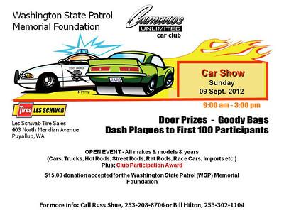 Washington State Patrol Memorial Foundation & Camaro's Unlimited Car Show  09/09/2012