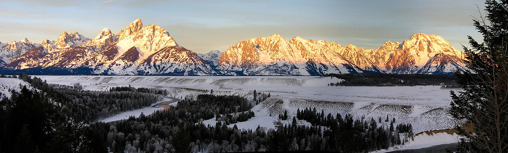 Dawn rising on The Tetons from the Snake River Overlook