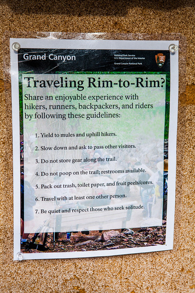 Rules of traveling Rim to Rim
