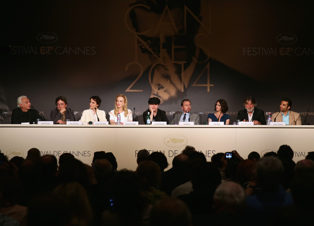 ". (L-R) Moderator Henri Behar, Eric Gautier, actresses Jeanne Balibar, Nicole Kidman, director Olivier Dahan, actor Tim Roth, actress Paz Vega, producer Pierre-Ange Le Pogam and screenwriter and producer Arash Amel attend the ""Grace of Monaco\"" press conference during the 67th Annual Cannes Film Festival on May 14, 2014 in Cannes, France.  (Photo by Vittorio Zunino Celotto/Getty Images)"
