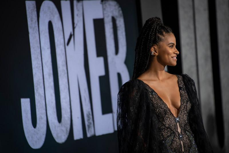 "HOLLYWOOD, CALIFORNIA - SEPTEMBER 28: Zazie Beetz attends the premiere of Warner Bros Pictures ""Joker"" on Saturday, September 28, 2019 in Hollywood, California. (Photo by Tom Sorensen/Moovieboy Pictures)"