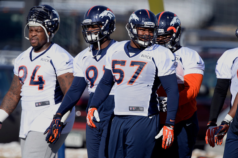 . Denver Broncos defense heads to drills during practice January 9, 2014 at Dove Valley (Photo by John Leyba/The Denver Post)