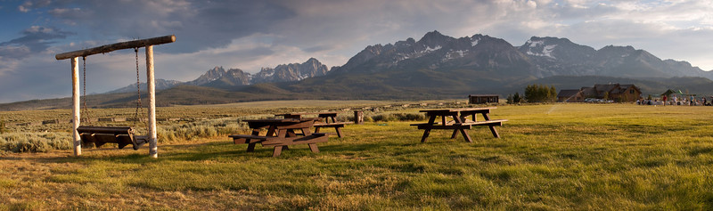 Panorama of Pioneer Park looking south towards the Sawtooth Mountains. Photo Mike Leeds.