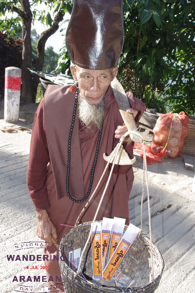 He was selling incense to visitors and willing to pose for a photo or two.