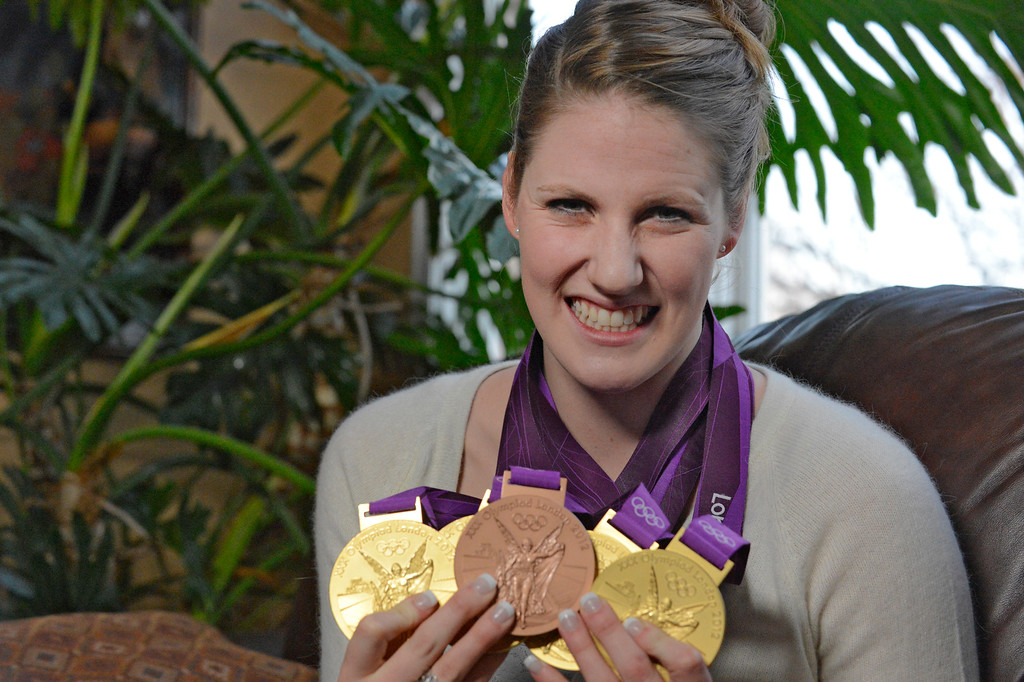 . Missy Franklin Missy sits down to an interview, holds up her Olympic medals  January 24, 2013, six months after winning four gold medals at the summer Olympics. Franklin signed a national letter of intent to swim for the Golden Bears starting next September. (Photo By John Leyba / The Denver Post)