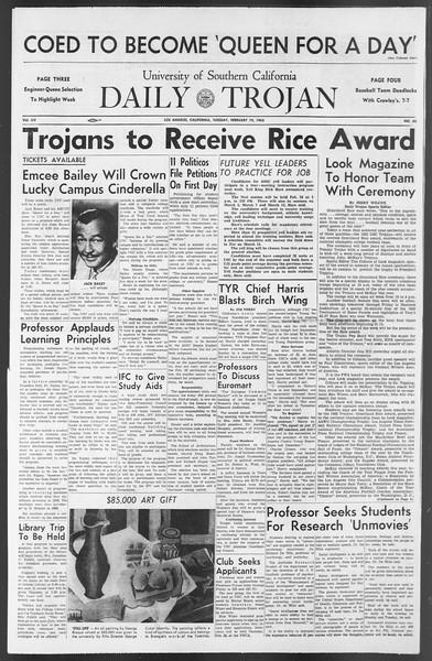 Daily Trojan, Vol. 54, No. 65, February 19, 1963