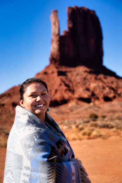 Female Navajo and West Mitten, Monuemnt Valley