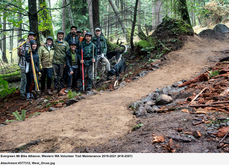 Evergreen Mountain Bike Alliance crew on a brand new mountain bike trail section, Washington  Photo by Washington Trails Association