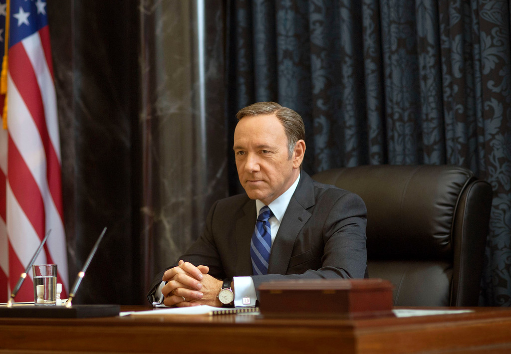 """. This image released by Netflix shows Kevin Spacey as Francis Underwood in a scene from \""""House of Cards.\"""" Spacey was nominated for a Golden Globe for best actor in a drama series for his role on the show on Thursday, Dec. 11, 2014. The 72nd annual Golden Globe awards will air on NBC on Sunday, Jan. 11. (AP Photo/Netflix, Nathaniel E. Bell)"""