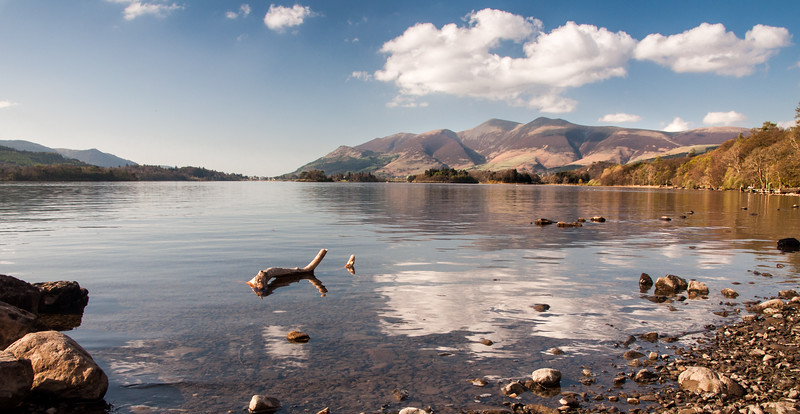 Skiddaw mountain and Derwent Water lake