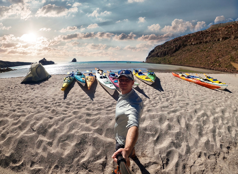 David Stock Jr of Divergent Travelers kayaking in Baja Mexico