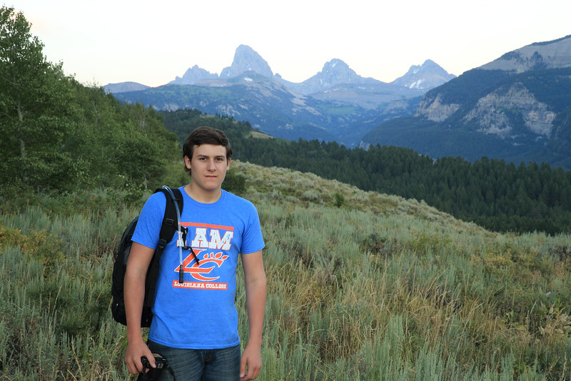 Smiling Jared and the west side of the Tetons.