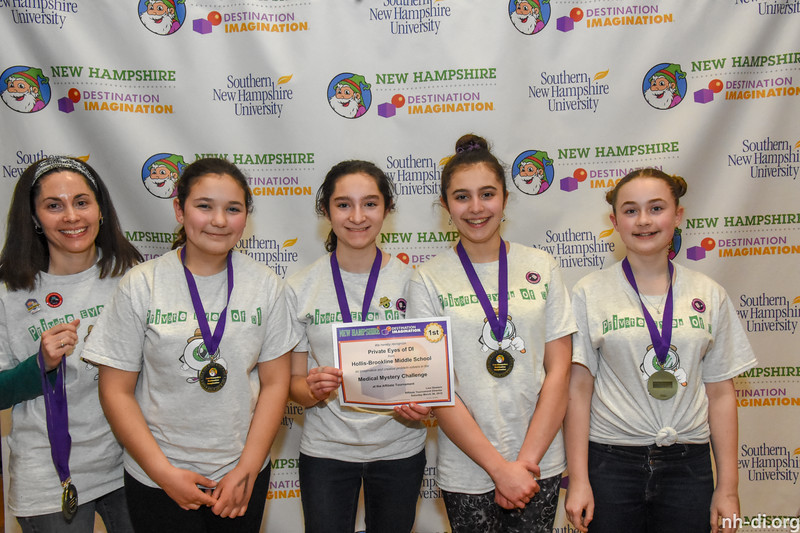 1st place. 130-76884 ,Hollis-Brookline Middle School, Private Eyes of DI, Hollis, NH, Scientific Challenge- Medical Mystery , Middle Level