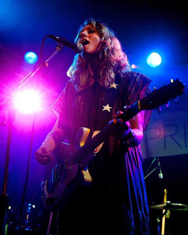 . CHICAGO, IL - AUGUST 01:  Erica Driscoll of Blondfire performs at the Billboard Lollapalooza 2013 Pre-Party at the Double Door on August 1, 2013 in Chicago, Illinois.  (Photo by Erika Goldring/Getty Images)