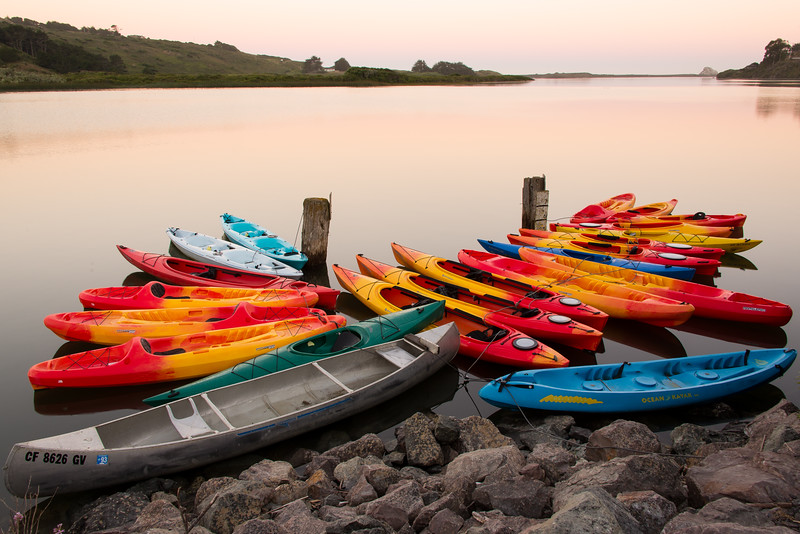 Kayaks on the Russian River, Jenner, CA
