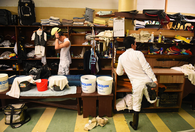 . A jockey prepares for the fourth race prior to the 139th running of the Preakness Stakes at Pimlico Race Course on May 17, 2014 in Baltimore, Maryland.  (Photo by Patrick Smith/Getty Images)