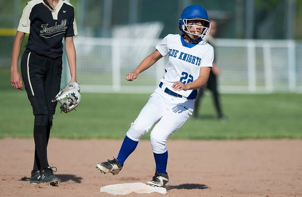 06/03/19 Wesley Bunnell | Staff Southington softball defeated Trumbull in a semifinal Class LL game at DeLuca Field in Stratford on Monday afternoon. Gianna Perugini (22) advances to second base.