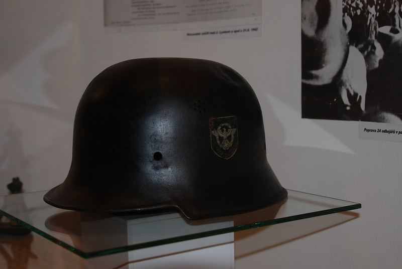 K.  Nazi helmet with bullet hole in it,.jpg
