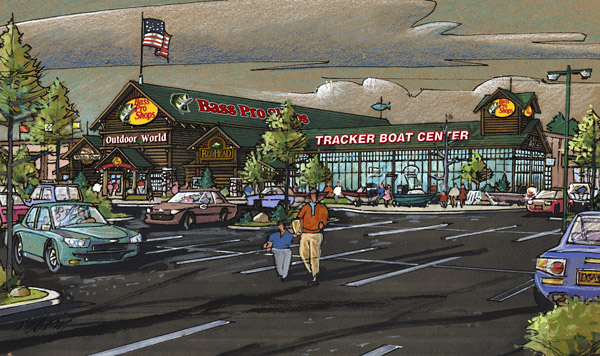 . Artist\'s rendering of Bass Pro Shops\' future location in San Jose. (Photo by Bass Pro Shops)
