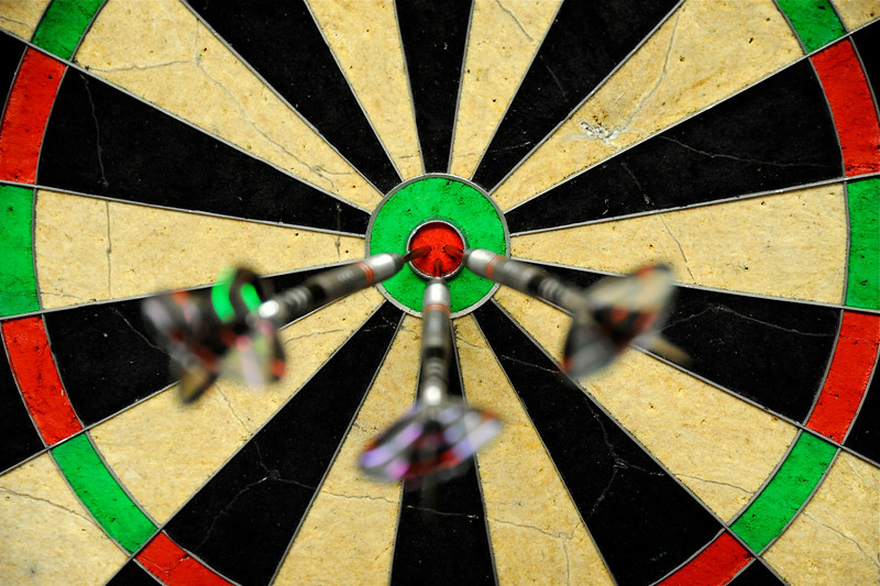 2011/2/16 – I've decided the game is a lot easier if you just walk up and push the darts in where you want them. I score better that way, but every match I play with this new rule ends in a tie.