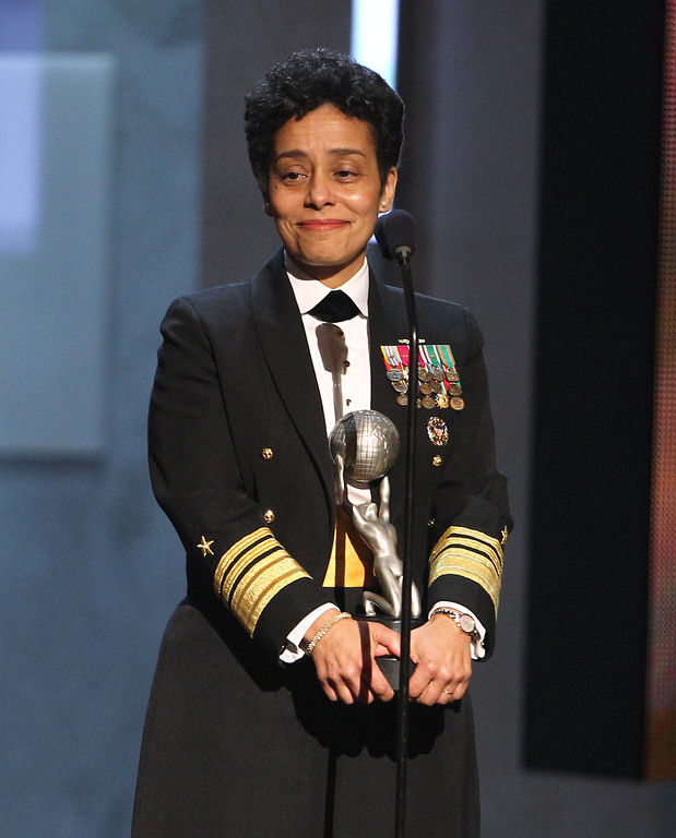 . Vice Admiral Michelle Howard accepts the Chairman\'s award at the 44th Annual NAACP Image Awards at the Shrine Auditorium in Los Angeles on Friday, Feb. 1, 2013. (Photo by Matt Sayles/Invision/AP)