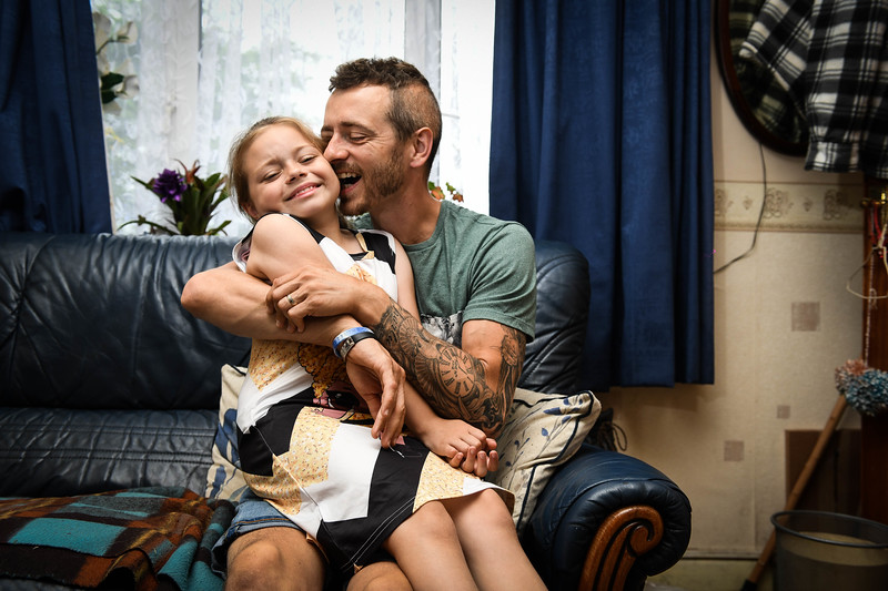 Ffostrasol, Llandysul, West Wales, Saturday 29th June 2019 Mark Thompson from Ffostrasol near Llandysul in West Wales, who is suffering from a brain tumor.   Mark is pictured with his daughter, Rihanna (CRRT) aged eight.
