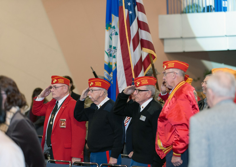 11/12/18  Wesley Bunnell | Staff  CCSU held a Veterans Day Observance on Monday afternoon in Alumni Hall which featured honoring three local veterans. Members of the Marine Corps League Hardware City Detachment salute as the colors are retired.