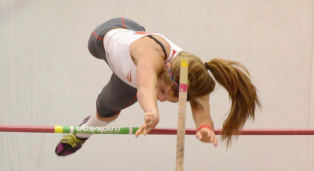 ". Maribeth Joeright/MJoeright@News-Herald.com<p> Geneva\'s Ally Thompson clears 11\'9"" to break the area record in girls pole vault during the PAC meet at SPIRE Institute, May 15, 2014. Thompson eventually cleared 12 ft."