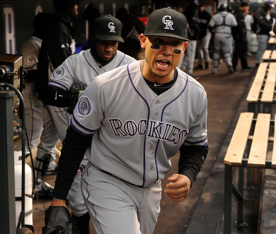 . DENVER, CO. - APRIL 16:  Carlos Gonzalez let out a yell as the Rockies took the field for the second game. The Colorado Rockies hosted the New York Mets in the second game of a doubleheader Tuesday night, April 16, 2013. Monday night\'s game was snowed out at Coors Field.  Photo By Karl Gehring/The Denver Post)
