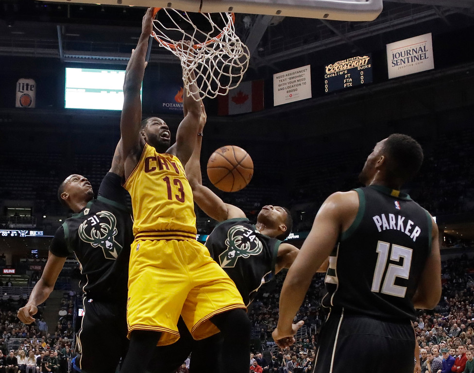 . Cleveland Cavaliers\' Tristan Thompson dunks during the first half of an NBA basketball game against the Milwaukee Bucks Tuesday, Dec. 20, 2016, in Milwaukee. (AP Photo/Morry Gash)